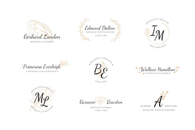 Coleção de logotipos de casamento