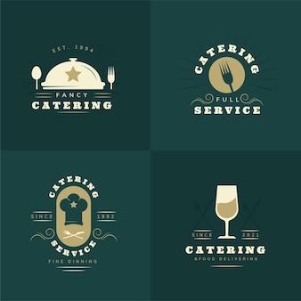 Coleção de logotipos de catering em design plano