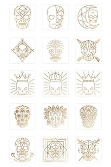 Coleção de logotipos de caveira geométrica