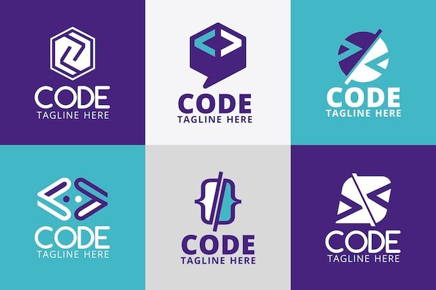 Coleção de logotipos de código simples