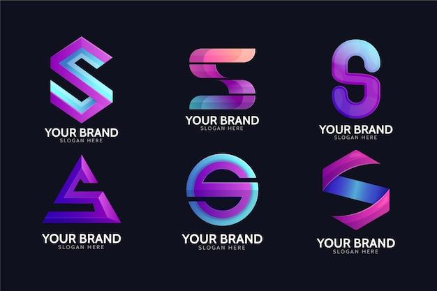 Coleção de logotipos de cor gradiente