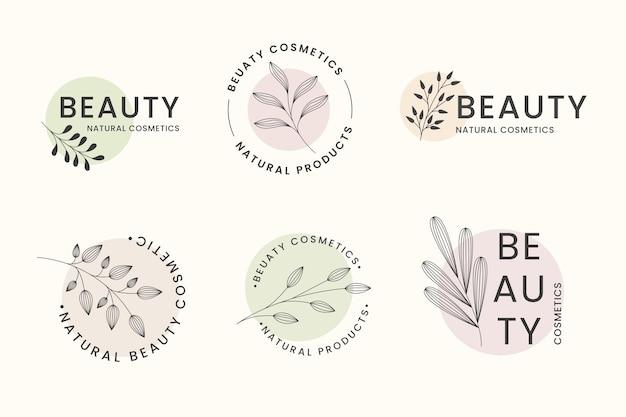 Coleção de logotipos de cosméticos naturais