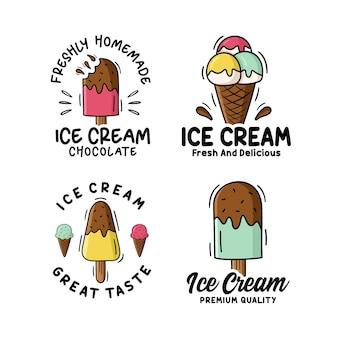 Coleção de logotipos de design de sorvete
