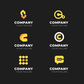 Coleção de logotipos de design plano c