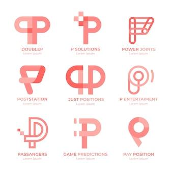 Coleção de logotipos de design plano Vetor grátis