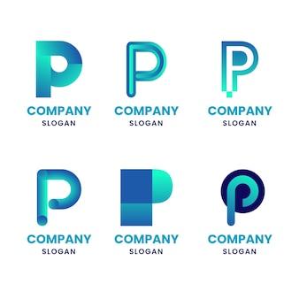 Coleção de logotipos de design plano