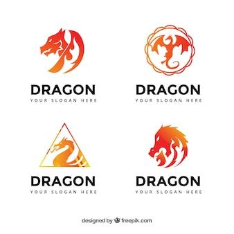 Coleção de logotipos de dragão em cores de gradiente