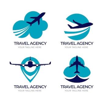 Coleção de logotipos de empresas de viagens diferentes