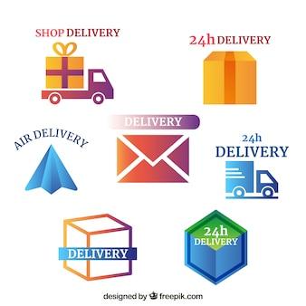 Coleção de logotipos de entrega para empresas