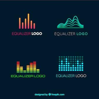 Coleção de logotipos de equalizador em estilo simples