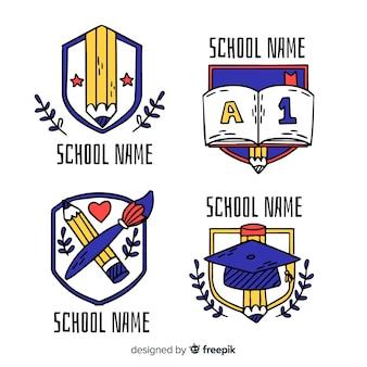 Coleção de logotipos de escola mão desenhada