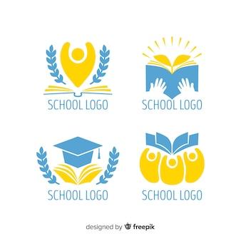 Coleção de logotipos de escola plana