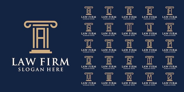 Coleção de logotipos de escritórios de advocacia com a letra inicial de a a z