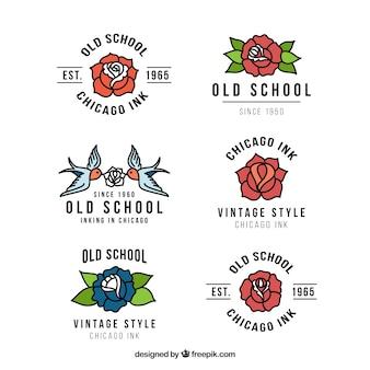 Coleção de logotipos de estúdio bela tatuagem