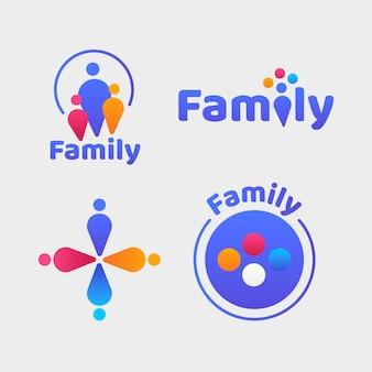 Coleção de logotipos de família fofos