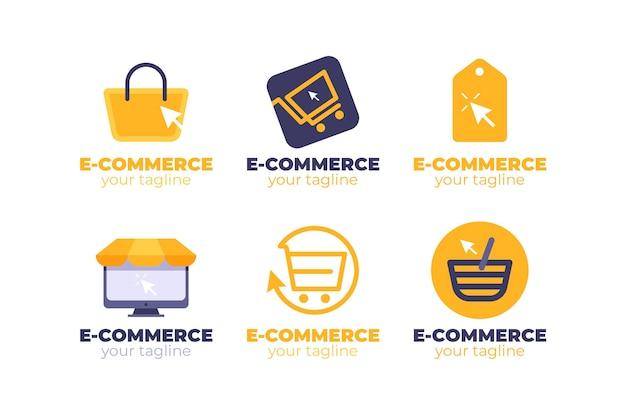 Coleção de logotipos de flat e-commerce