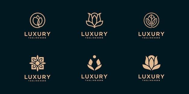 Coleção de logotipos de flores, rosas e folhas de arte de linha de luxo