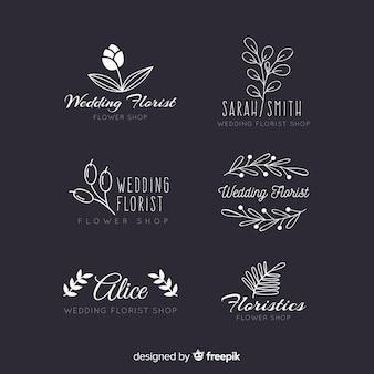 Coleção de logotipos de florista de casamento