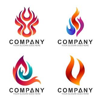 Coleção de logotipos de fogo abstrata