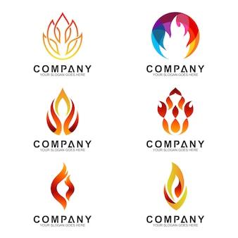 Coleção de logotipos de fogo criativo