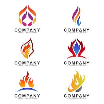 Coleção de logotipos de fogo