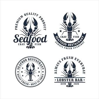 Coleção de logotipos de frutos do mar cray fish restaurant