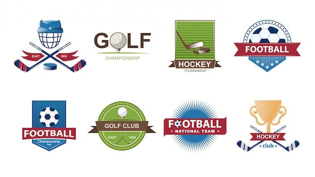 Coleção de logotipos de futebol. emblemas de conjunto de golfe. emblemas de etiquetas de hóquei.