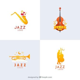 Coleção de logotipos de jazz em estilo gradiente
