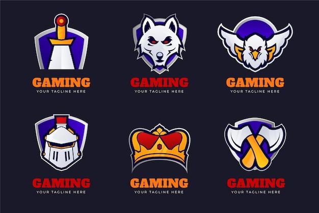 Coleção de logotipos de jogos do esports da gradient