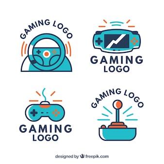 Coleção de logotipos de jogos em estilo simples