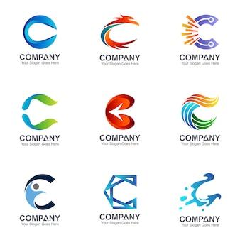 Coleção de logotipos de letra c em muitos estilos
