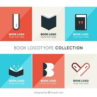 Coleção de logotipos de livros em design plano