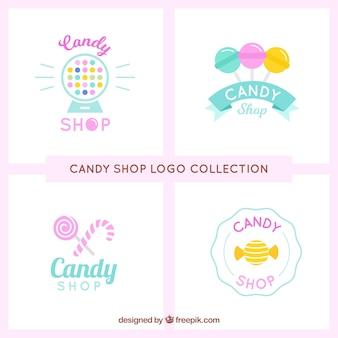 Coleção de logotipos de loja de doces para empresas