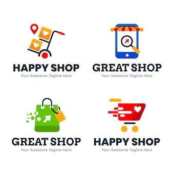 Coleção de logotipos de loja online de design plano