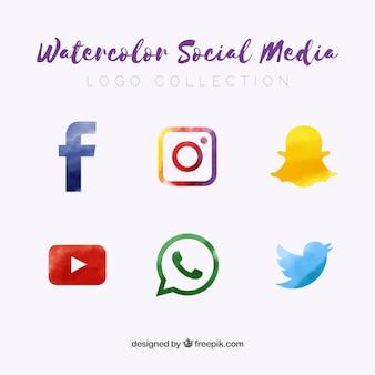 Coleção de logotipos de mídias sociais em estilo aquarela