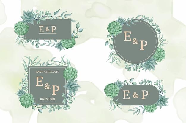 Coleção de logotipos de moldura de casamento com bela aquarela floral