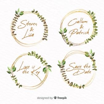 Coleção de logotipos de moldura em aquarela