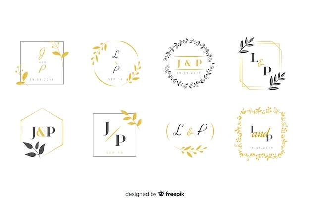 Coleção de logotipos de monograma com folhas