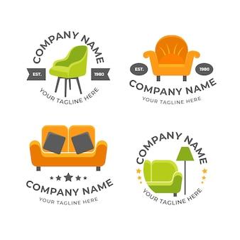Coleção de logotipos de móveis minimalistas