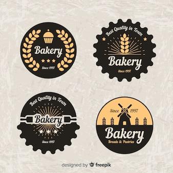Coleção de logotipos de padaria circulada