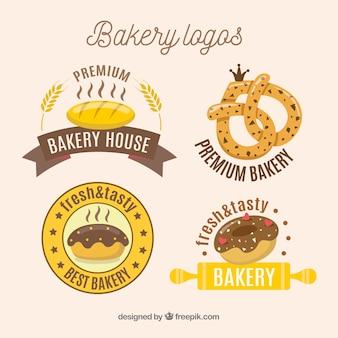 Coleção de logotipos de padaria desenhada de mão