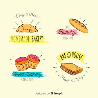 Coleção de logotipos de padaria dos desenhos animados