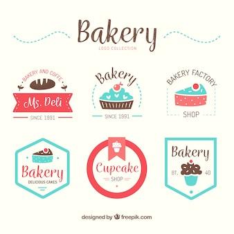 Coleção de logotipos de padaria em estilo plano