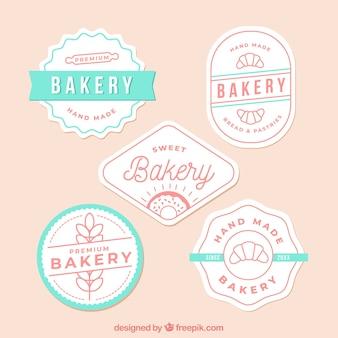 Coleção de logótipos de padaria em estilo plano