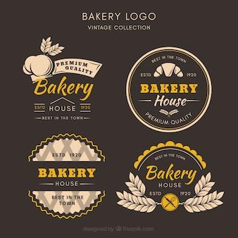Coleção de logótipos de padaria em estilo vintage
