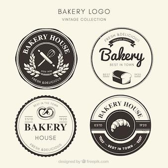 Coleção de logotipos de padaria em estilo vintage