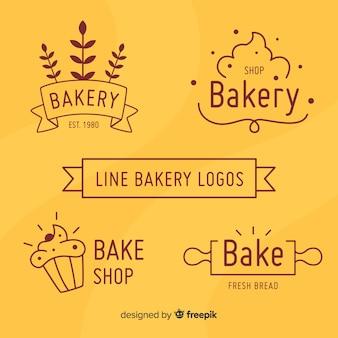 Coleção de logotipos de padaria simples