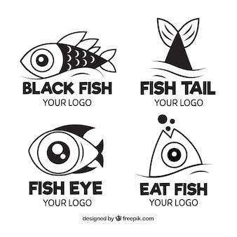 Coleção de logotipos de peixe em preto e branco