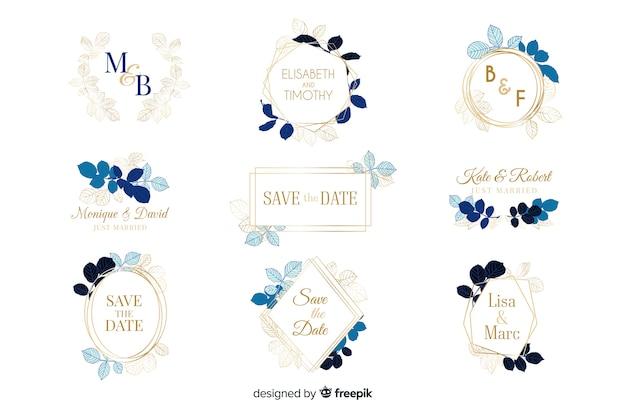 Coleção de logotipos de quadro de casamento em aquarela