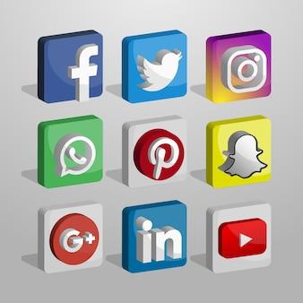 Coleção de logotipos de redes sociais em 3d